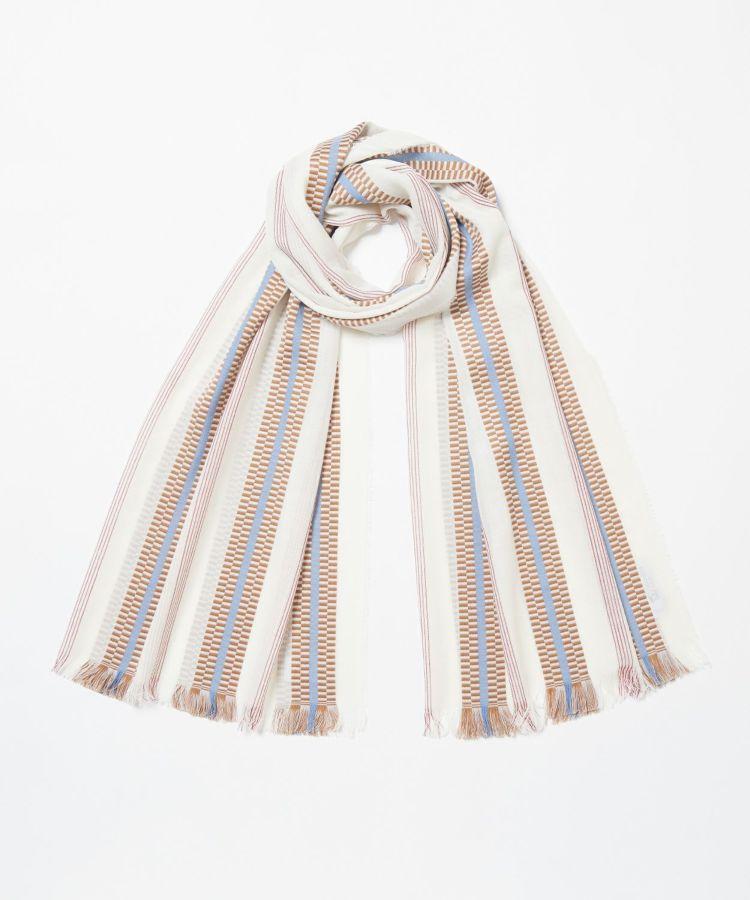 Pixelated Ribbon Scarf WD1635: RU6810 Ecru